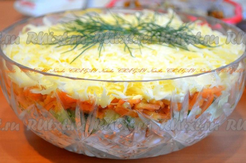 Морковь по-корейски копченая грудка огурцы — pic 1