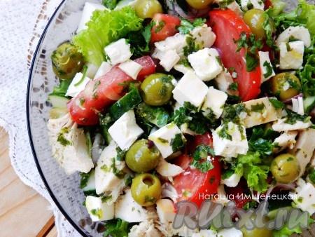 Рецепт греческого салата с курицей фото пошагово