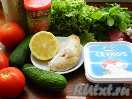 Ингредиенты для приготовления греческого салата с курицей