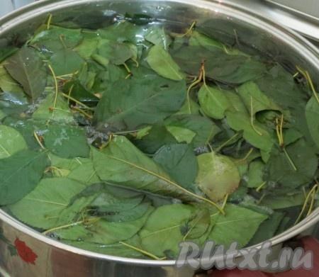 Отмериваем в кастрюлю воду и доводим её до кипения. В воду отправляем вишнёвые листья, предназначенные для маринада. Через 4-5 минут по кухне разнесётся аромат вишнёвых листьев. Убираем из маринада листья. А на отваре варим маринад. Добавляем сахар и соль. Растворяем их, размешивая. Выключаем газ. Вливаем уксус. Охлаждаем до чуть тёплого состояния.