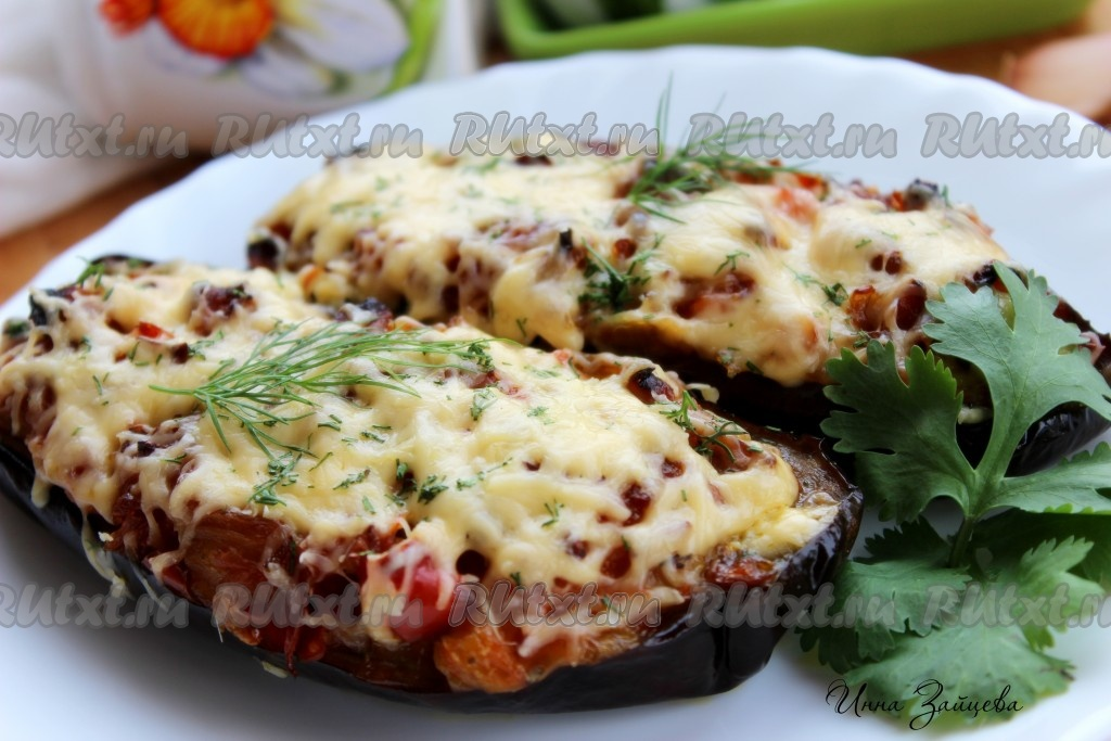 рецепт фаршированных баклажанов с грибами в духовке