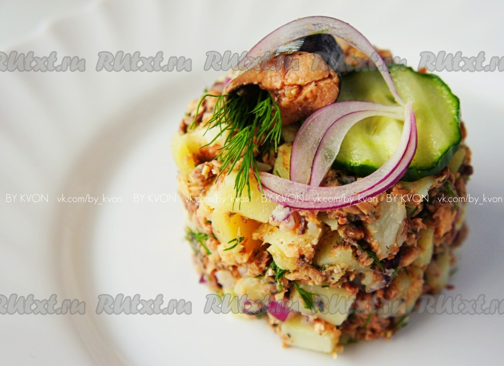 салат с рыбной консервой с картошкой рецепт