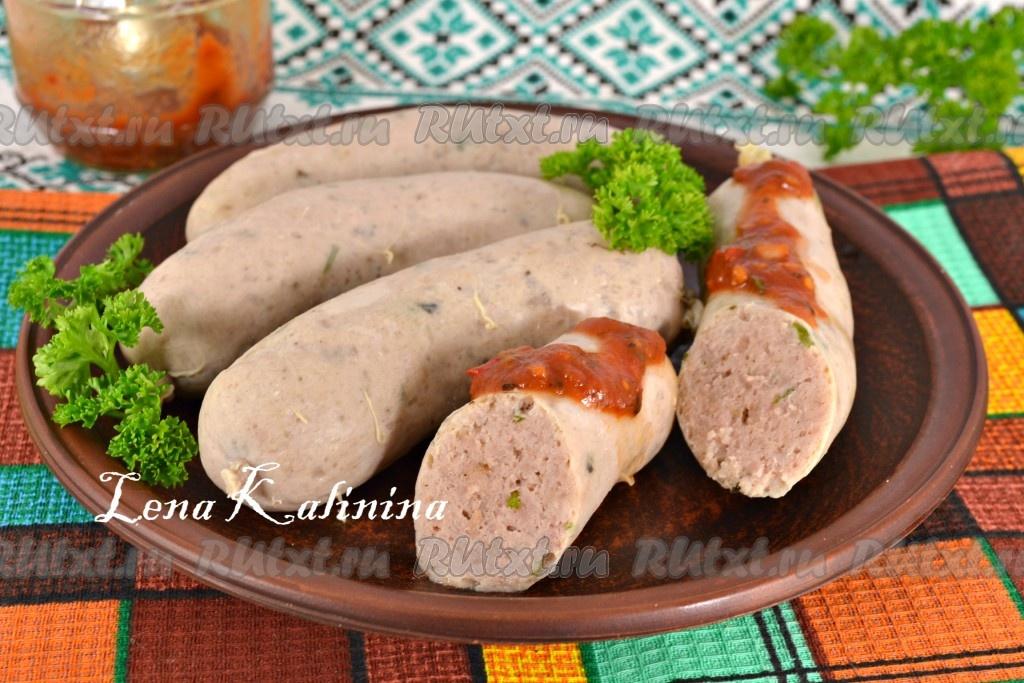 домашние колбаски в кишке в духовке рецепт