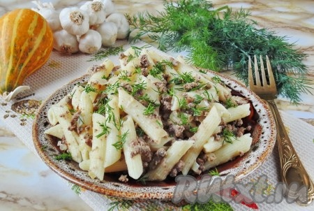 Очень вкусные макароны по-флотски с печенью готовы. Подаем на второе в обед или на ужин.