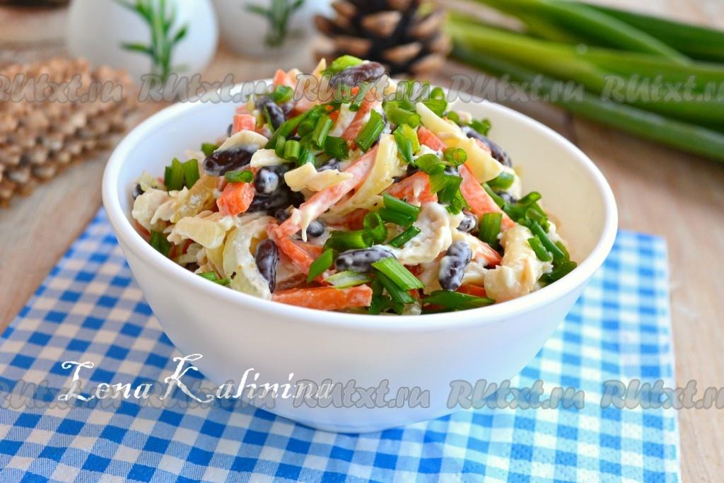 салат с фасолью и курицей пп рецепт