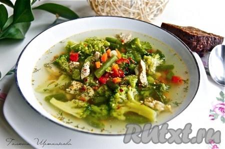 суп с капустой брокколи и стручковой фасолью