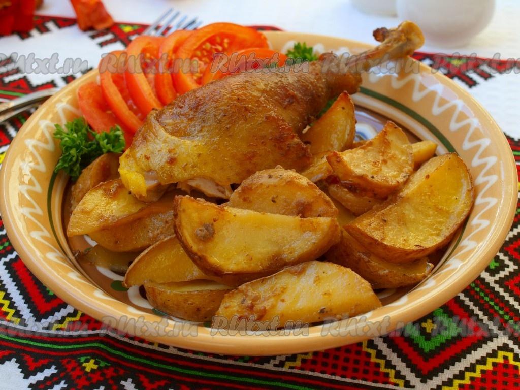 Запеченная курица в духовке с картошкой с горчицей