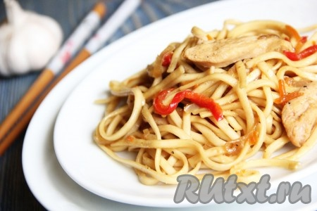 рецепт приготовления китайской лапши с курицей