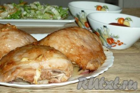 бедрышки куриные в духовке с яблоками рецепт