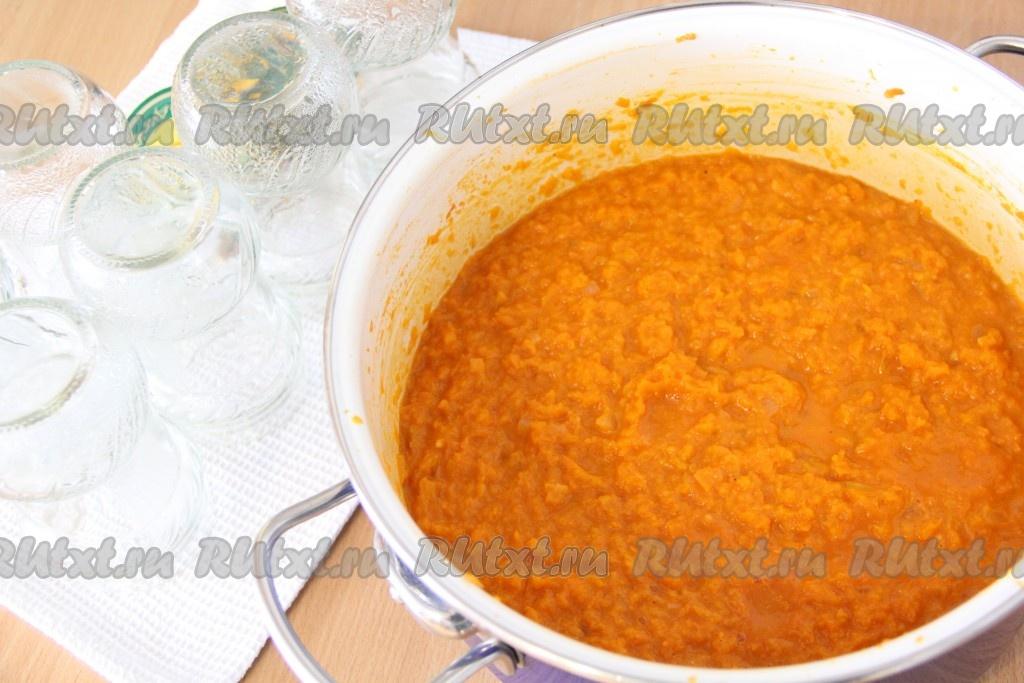 морковная икра с помидорами на зиму