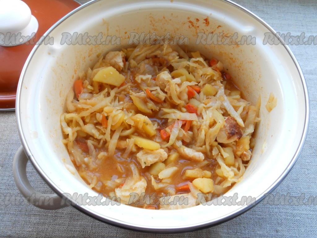 Картошка тушеная с курицей и капустой в кастрюле пошаговый рецепт с