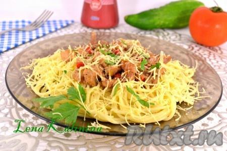 Мясо со спагетти рецепт с фото