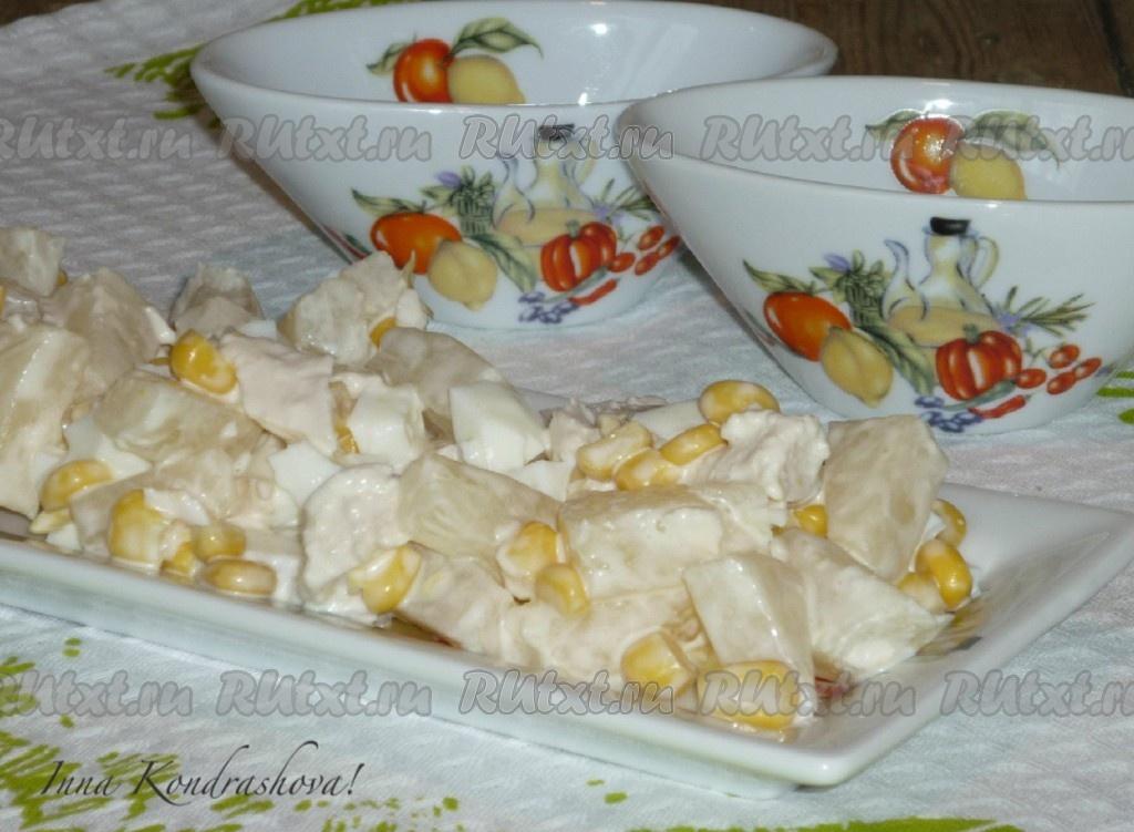 рецепт салат курица с ананасами и кукурузой рецепт