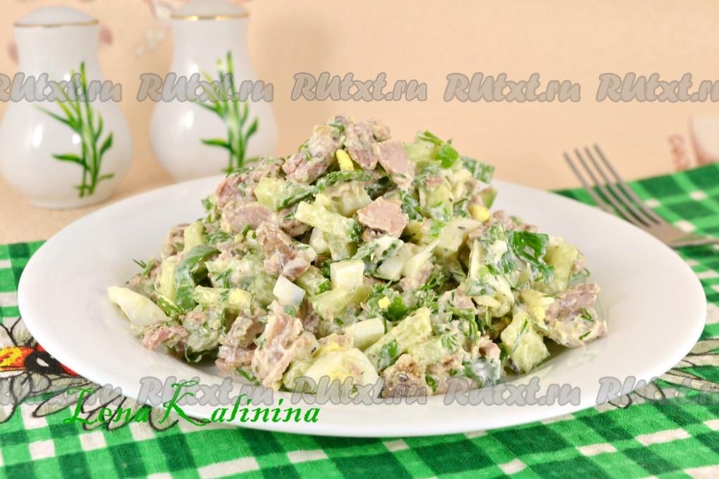 Салат из мяса яиц огурец