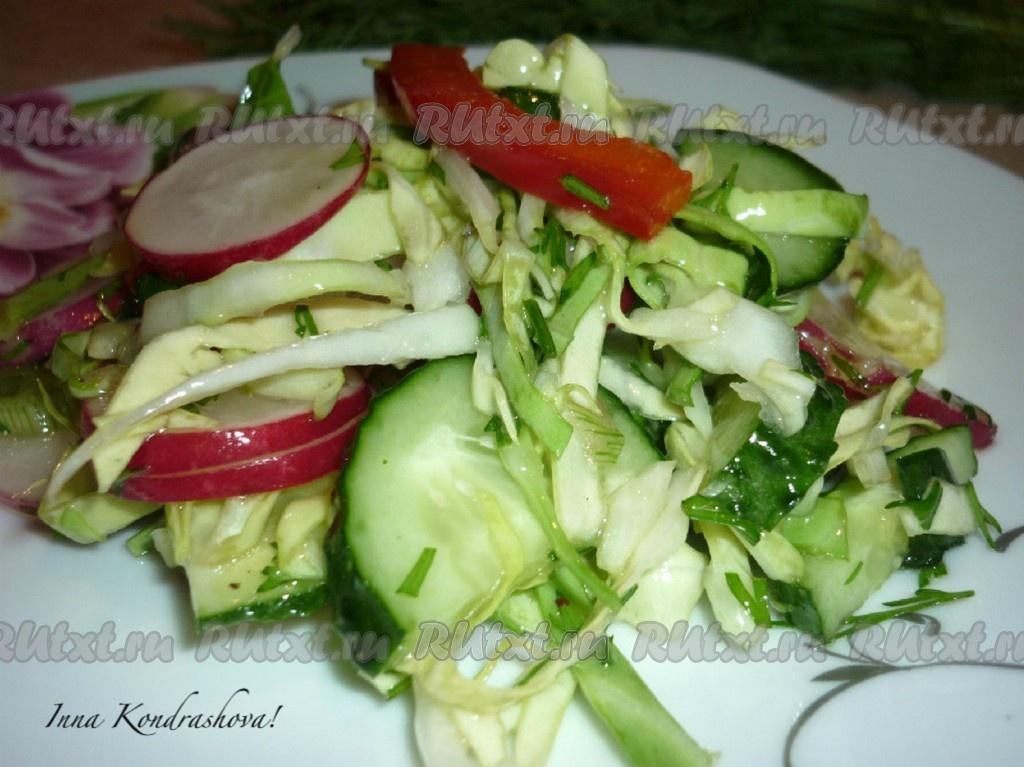 рецепт салата из огурцов и редиски с