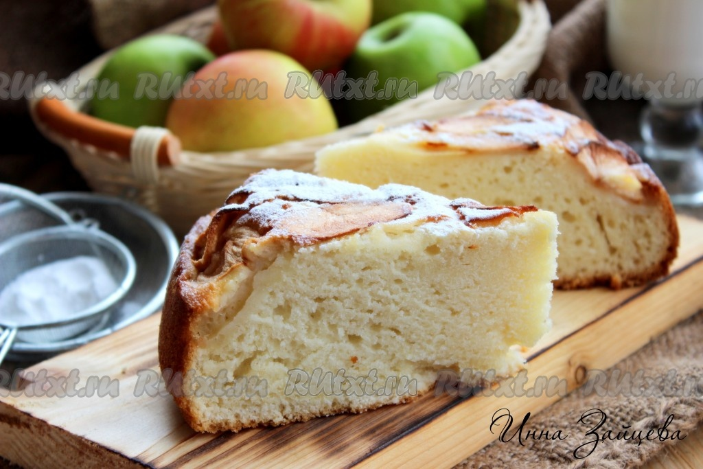 Пирог с яблоками на молоке и рецептами